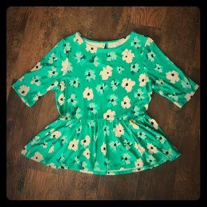 Elle Peplum Top Floral Green Size Medium